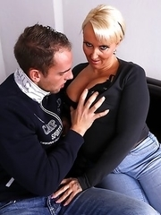 Chubby German housewife fooling around with her lover