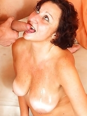 Horny mature slut fucking and sucking a toy boy